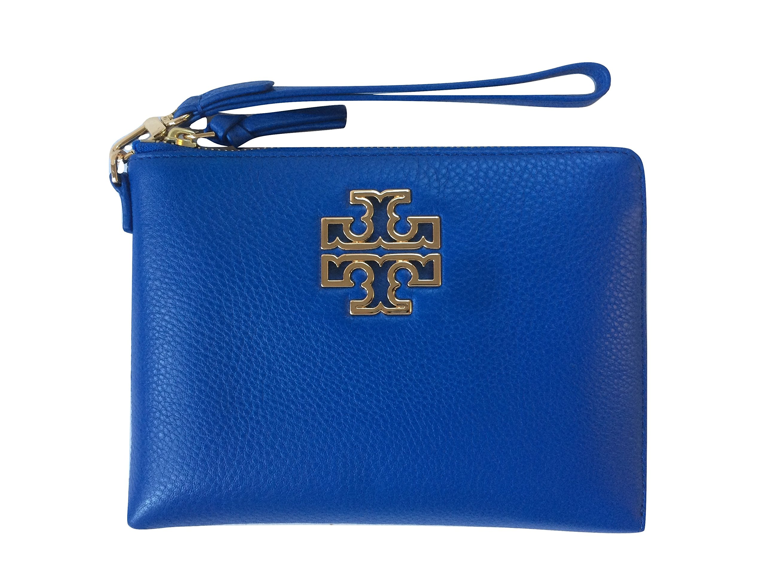 Tory Burch Britten Large Pebbled Leather Zip Pouch Wristlet (Bondi Blue)