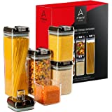 A-Special Food Storage Containers Set - 5-Piece Plastic Containers - Airtight Food Containers - BPA Free Kitchen Canisters - Clear Food Grade Plastic Storage Containers with Easy Lock Black Lids
