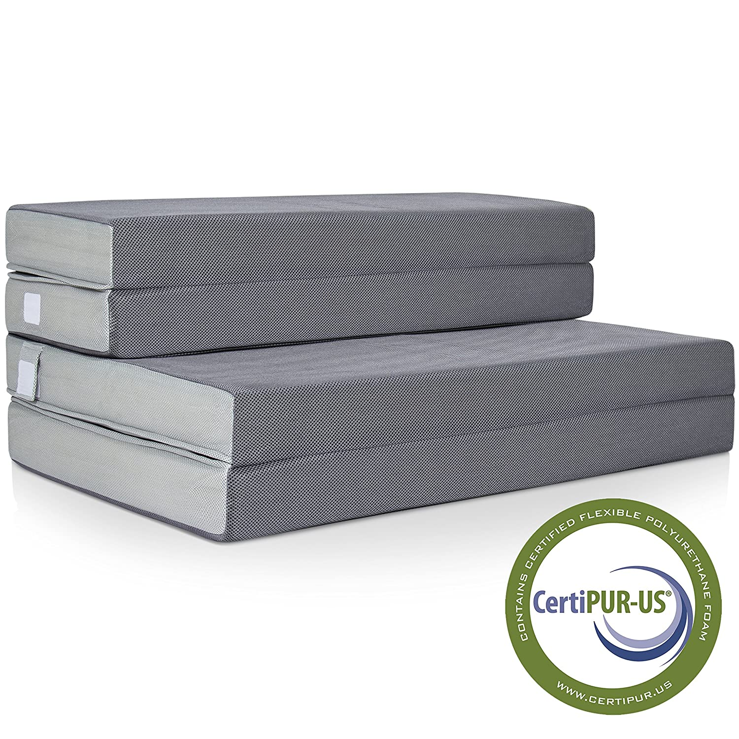 Best Choice Products 4in Thick Folding Portable Twin Mattress Topper w/ High-Density Foam