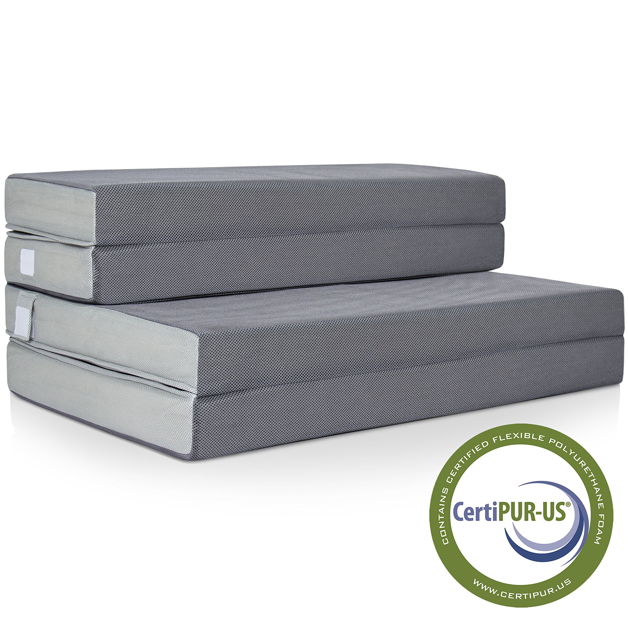 Best Choice Products 4in Thick Folding Portable Twin Mattress Topper w/High-Density Foam, Washable Cover