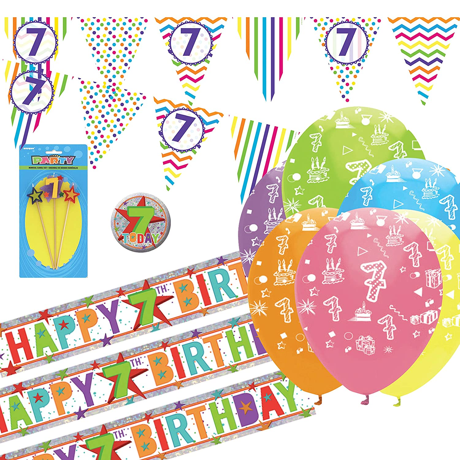 Party Balloons Banners Badges /& Decorations Helium Happy 7th Birthday AGE 7
