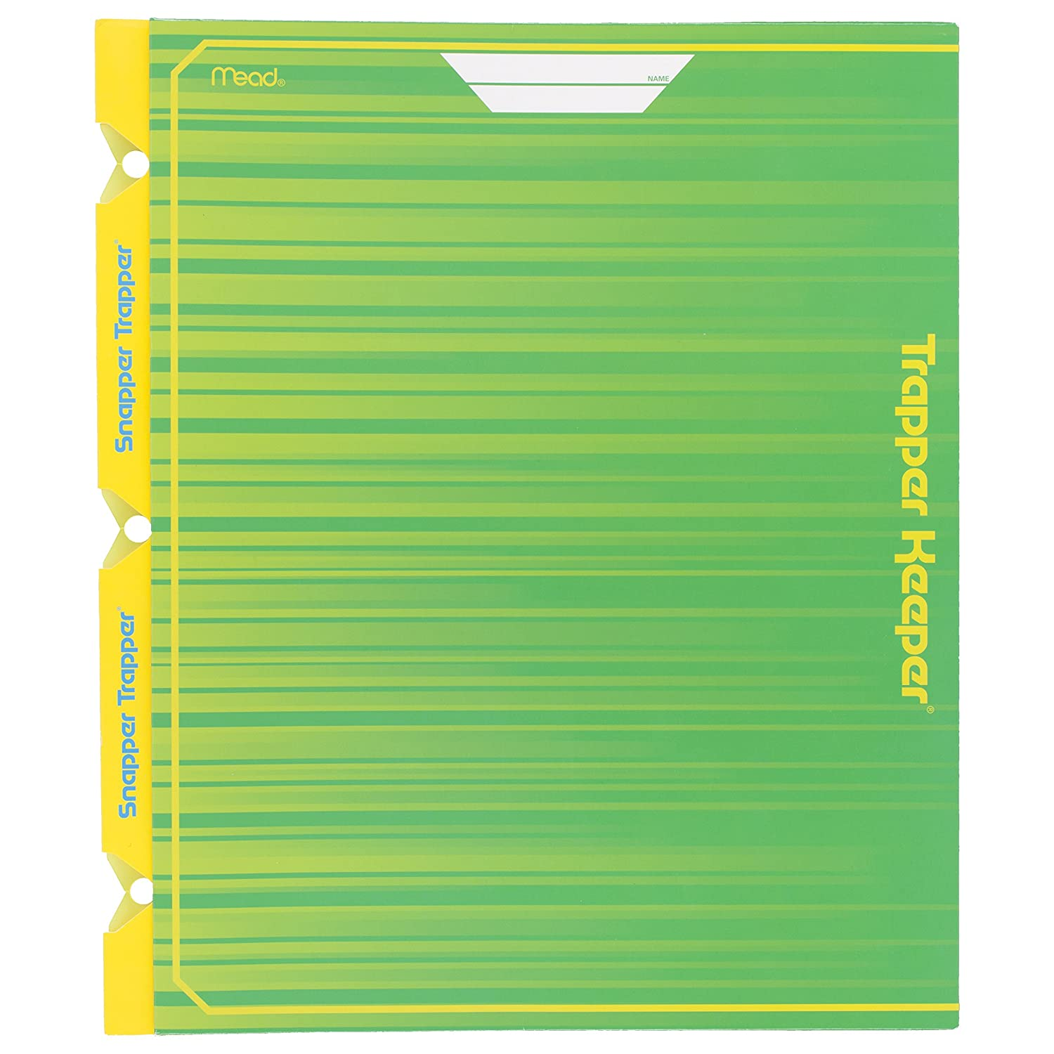 Mead Trapper Keeper Snapper Trapper 2-Pocket Portfolio with Prongs, 11.88 x 12 x .12 Inches, Green (72664)