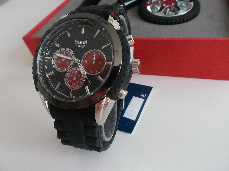 Sami RSM-43569-1 Motor Time Series Conjunto de Reloj de caballero esfera con forma de rueda metal/caucho color negro y rojo, correa de caucho, ...