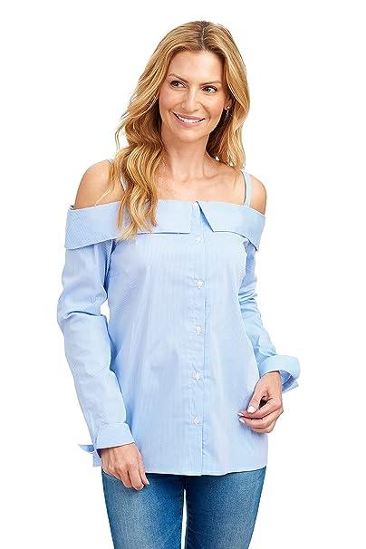 3fcb35e56 Como Vintage Women's Striped Off The Shoulder Front Button Up Shirt Blouse ( Blue/White
