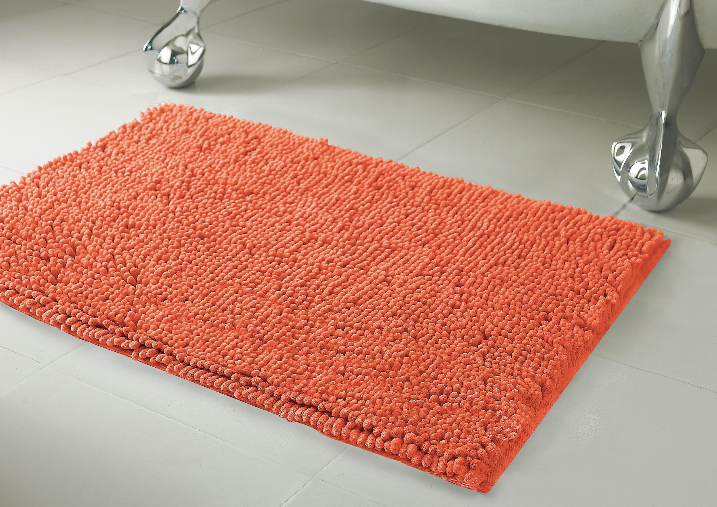 Resort Collection Plush Shag Chenille 17 x 24'' Bath Mat, Coral