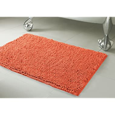 Resort Collection Plush Shag Chenille 17 x 24  Bath Mat, Coral