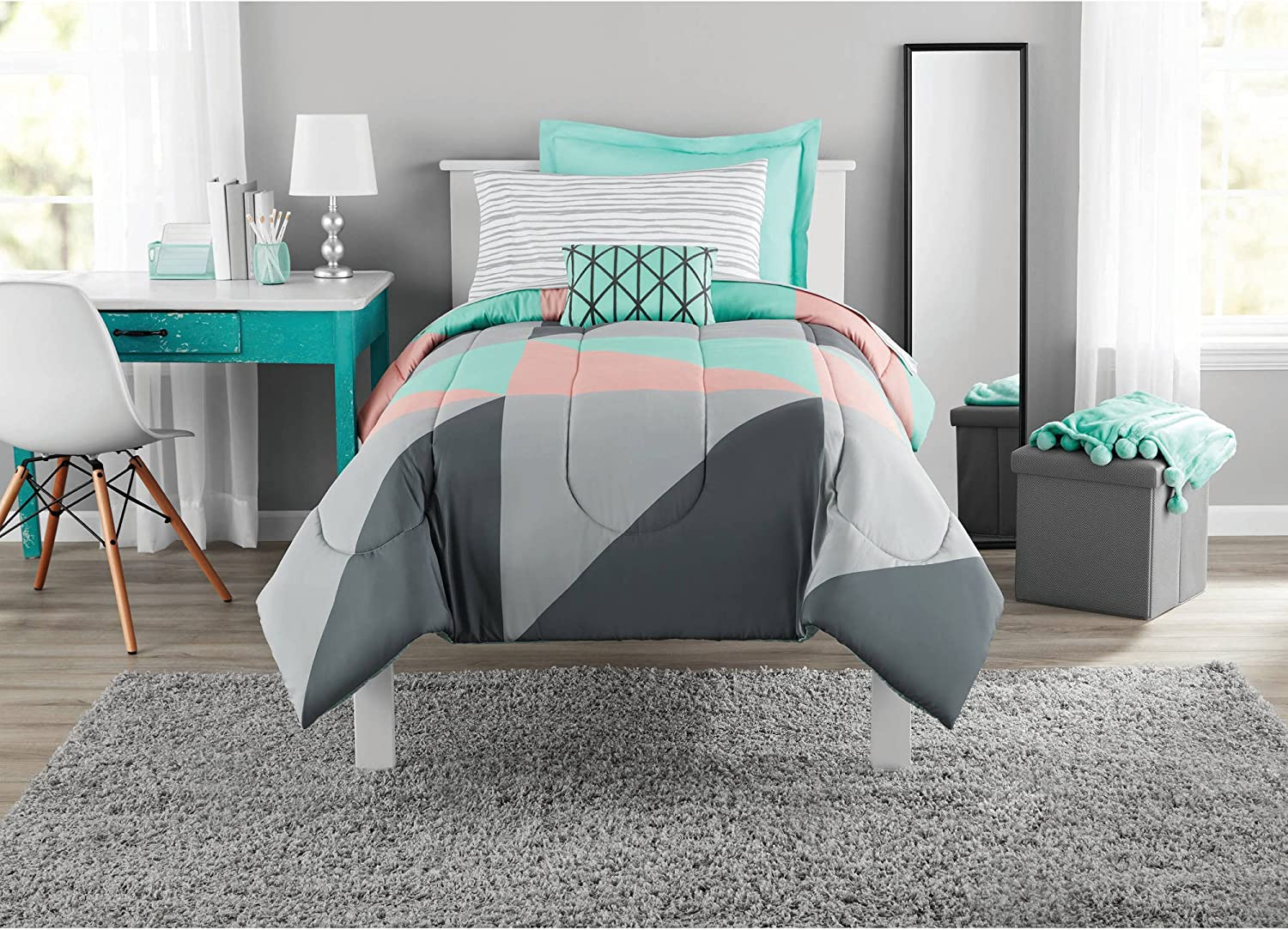 Fun and Bold Mainstays Gray and Teal Bed in a Bag Modern Comforter Set.
