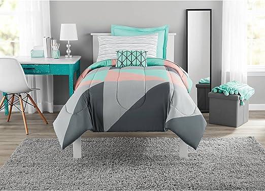 Mainstays Digital Stripe Geometric Design Bed in a Bag Complete Bedding Set TWIN