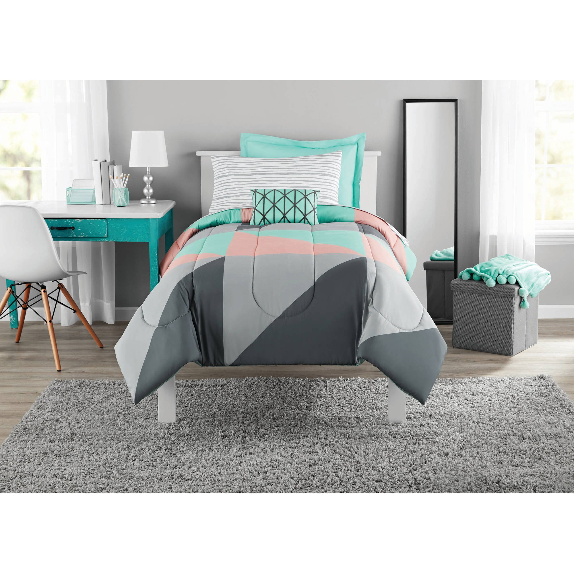 Fun and Bold Mainstays Gray and Teal Bed in a Bag Modern Comforter Set, Geometric Triangle Print with Teal Blue Gray and Pink Coral, Great for Dorms and Kid's Rooms! (Twin/Twin XL)