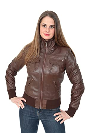 Damen Neueste Short Fitted Bomber Echtes Leder Zip up Jacke Cameron Braun  (S - EU c8fe5abd03