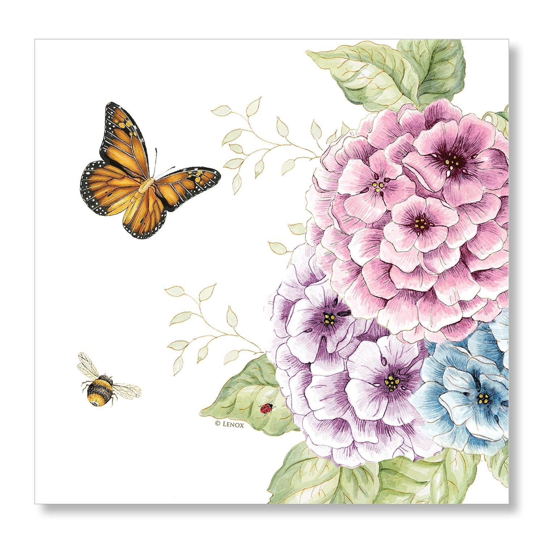 Lenox Butterfly Meadow Disposable Lunch Napkins, 6.5'' W x 6.5'' L, 20pcs