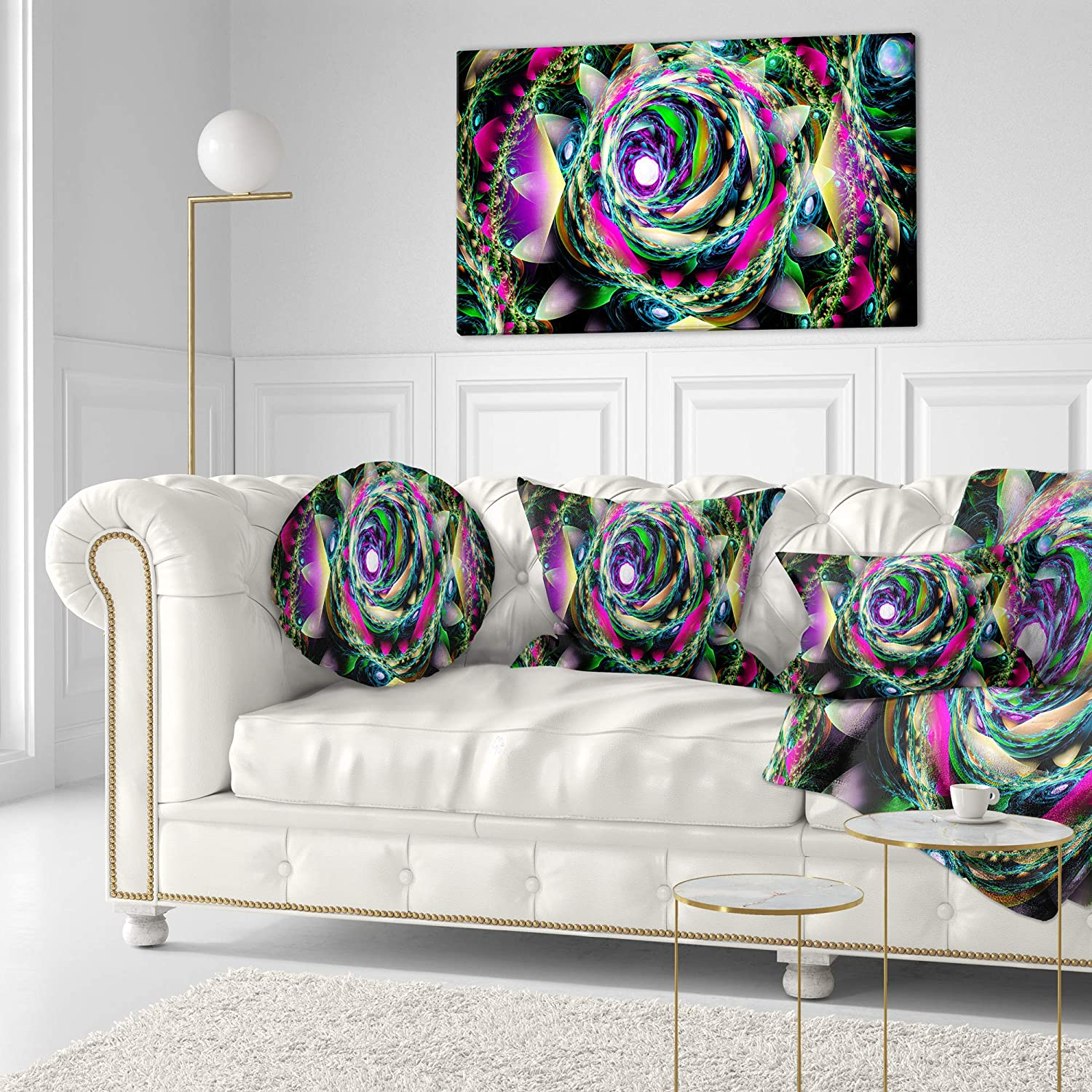 Sofa Throw Pillow 20 Insert Printed On Both Side Designart CU15631-20-20-C Colorful Exotic Whirlpool Flower Floral Round Cushion Cover for Living Room