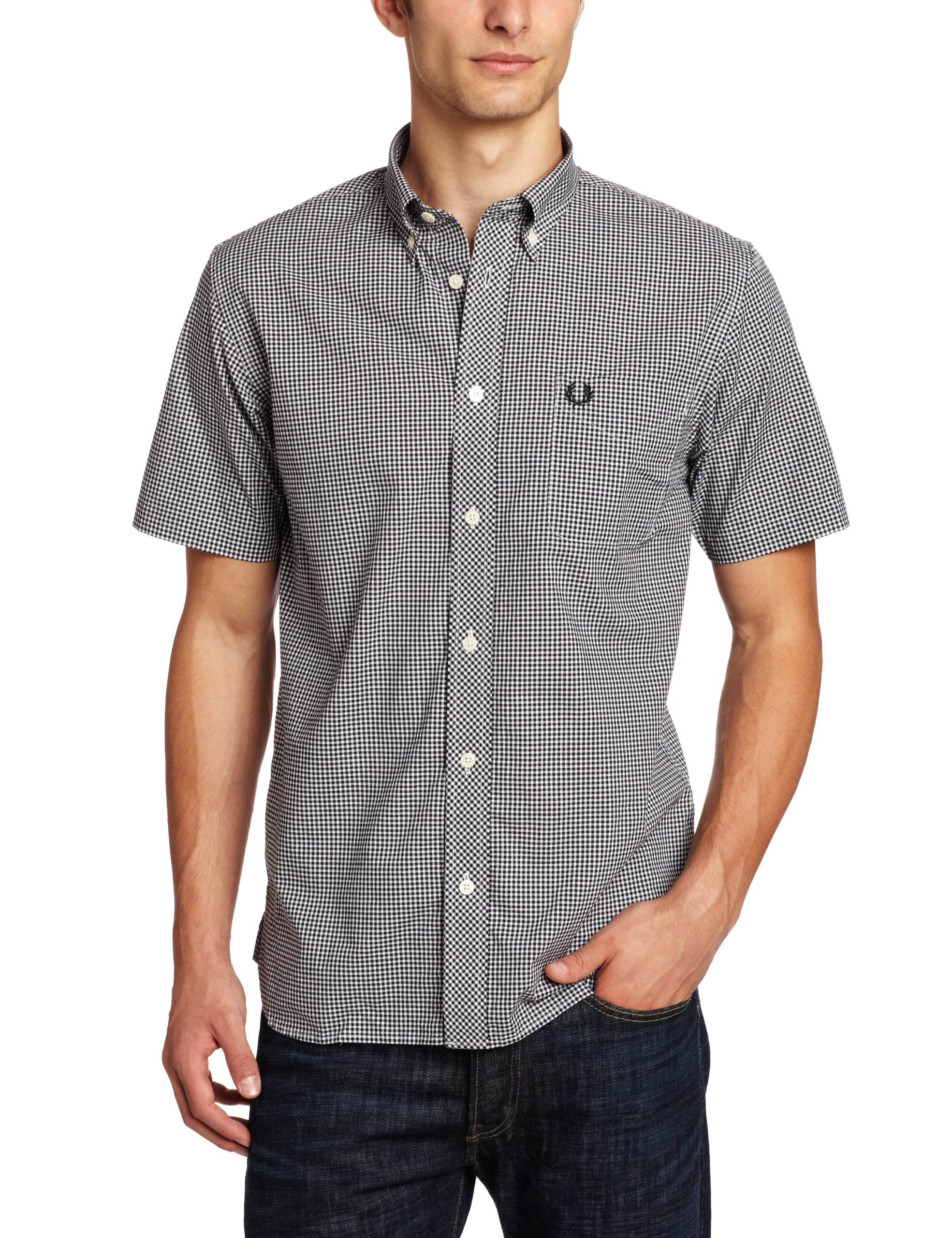 Fred Perry Men's Short Sleeve Gingham Shirt, Black, Large
