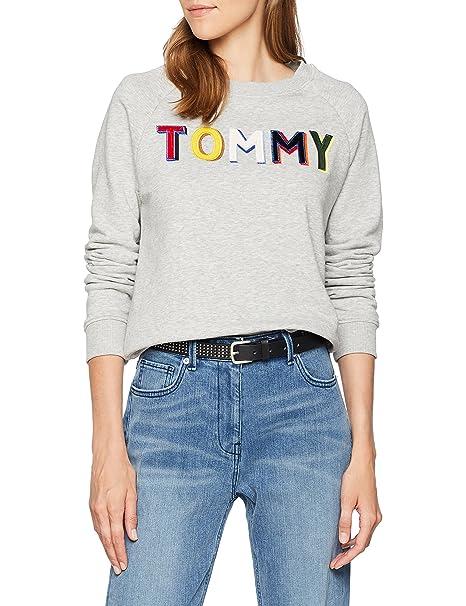 Tommy Hilfiger Francesca C-nk Sweatshirt LS, Sudadera Mujer, Gris (Light Grey