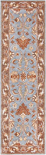 Safavieh Heritage Collection HG822A Handcrafted Traditional Oriental Blue and Beige Wool Area Rug 2 3 x 8
