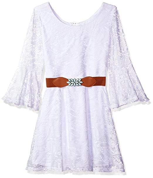 85607f9d9425 Amazon.com  Amy Byer Girls  Big  Bell Sleeve Lace Dress with Belt White 8   Clothing