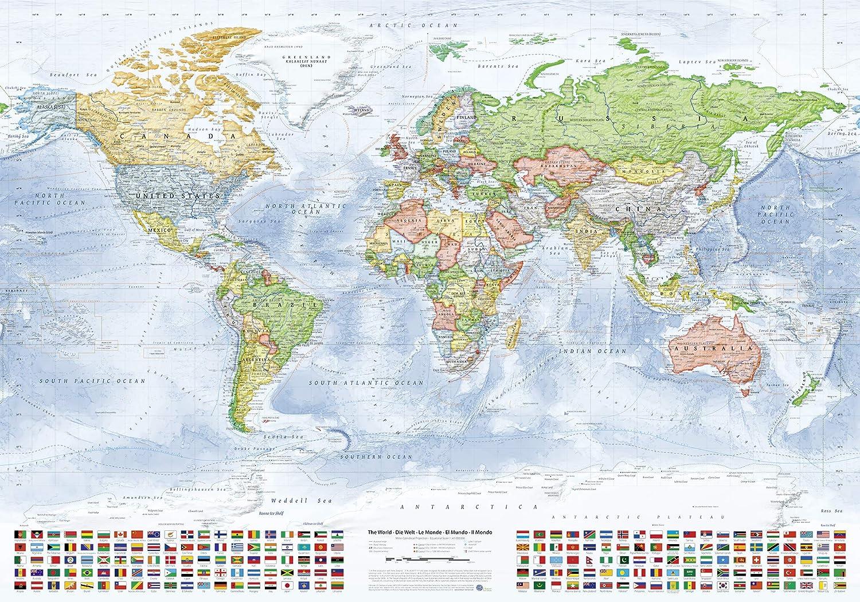 Cartina Politica Mondo 2017.J Bauer Karten Mappa Del Mondo Politica 100x70 Cm In Inglese Edizione 2018 Poster Amazon It Casa E Cucina