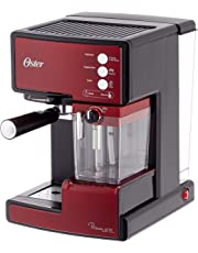 Oster Prima Latte - Cafetera espreso con tratamiento de leche, 15 bares de potencia (Roja)