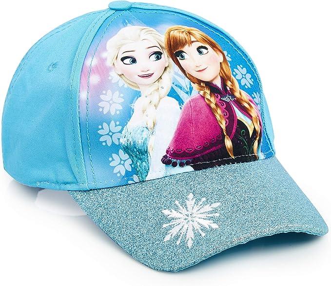 Disney Frozen 2, gorra de Visera para Niña, Gorras Beisbol Azul con Las Princesas Anna y Elsa, Gorra Niña con Purpurina Talla Unica, Regalos Originales para Niñas