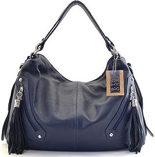 a97e3f0445 OH MY BAG Sac à main en cuir St trop bleu fonce: Amazon.fr ...
