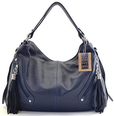 ae06cd0eb7 OH MY BAG Sac à main cuir Arizona bleu fonce: Amazon.fr: Chaussures ...