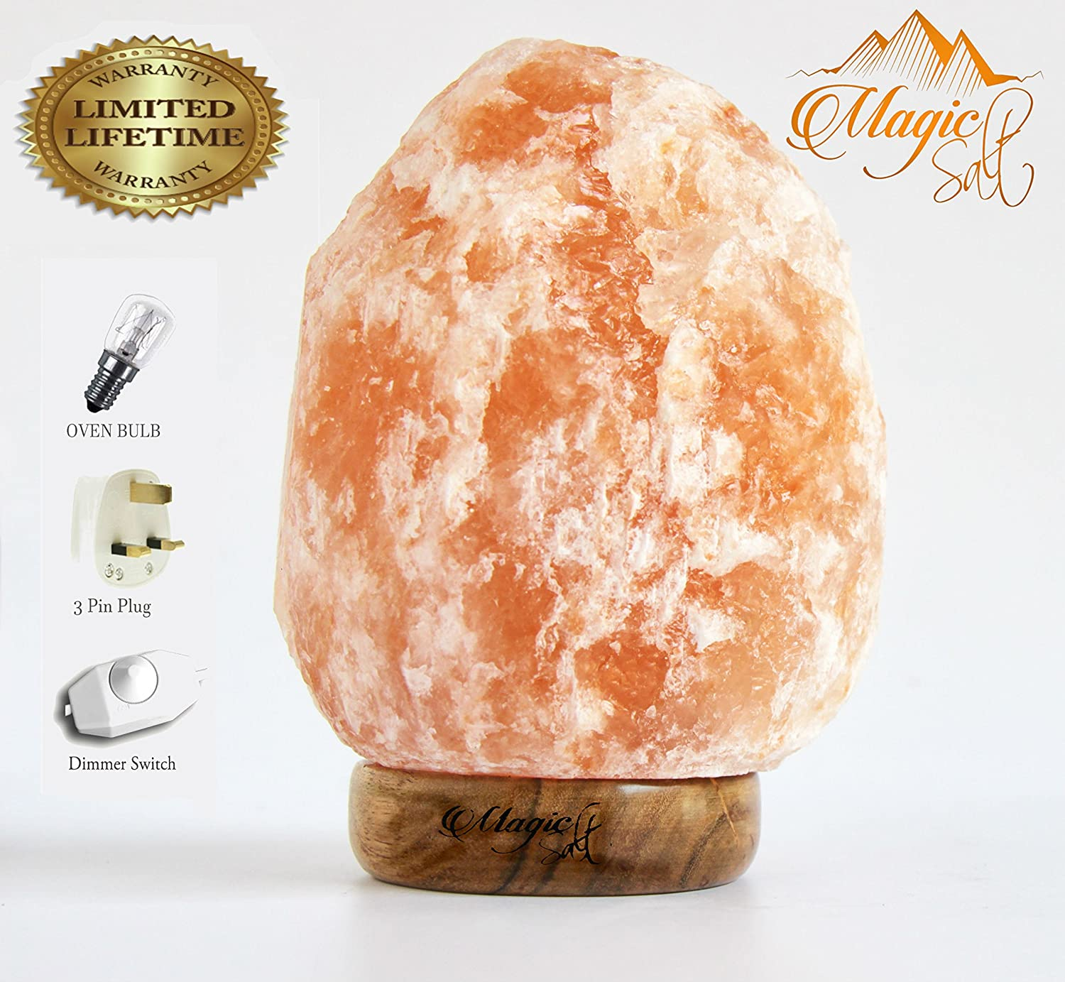 2-3 KG NATURAL PINK HIMALAYAN CRYSTAL ROCK SALT LAMP WITH DIMMER SWITCH AND BRITISH STANDARD ELECTRIC PLUG. 100% PREMIUM AND FINE QUALITY By MAGIC SALTÂ Himalayan Salt Products Ltd