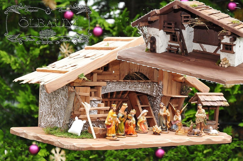 Massivholz-Weihnachtskrippe + Zubehör, K60MF-BRK-TLF2, NEU MIT BRUNNEN + BELEUCHTUNG + LAGERFEUER + TRAFO + LATERNE mit hochwertigen PREMIUM Krippenfiguren / FARBIG HANDBEMALT, 12er SET in edler Echtholz-Optik, mit 3 Königen aus dem Morgenland - saubere Gesichtszüge , feine Mimik, Zubehör für Weihnachtkrippen Spielkrippe Krippenspiel, Licht Beleuchtung als Krippenzubehör - Krippenspiele Krippenställe Stall Weihnachtsstall