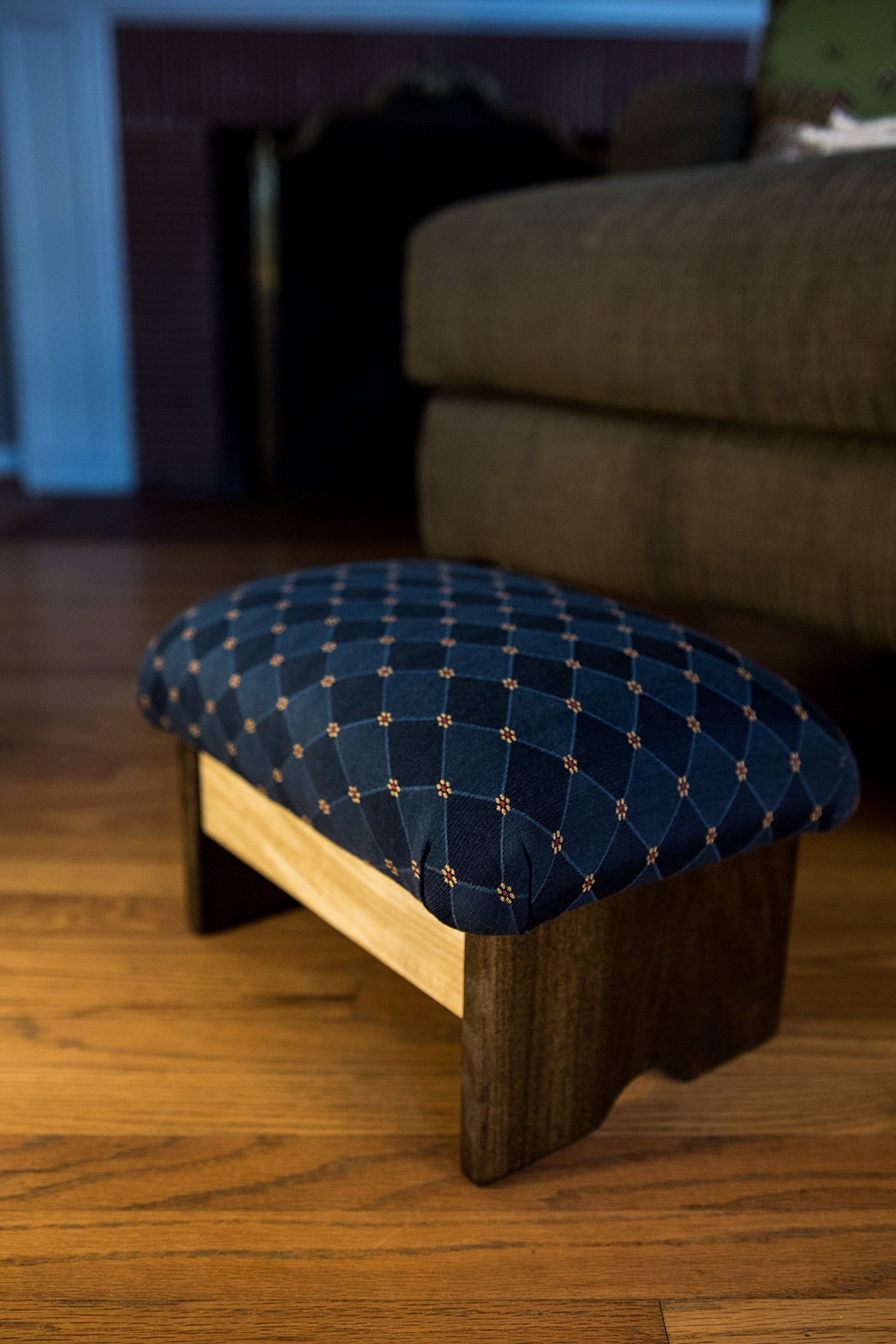 Padded Foot Stool 9'' Luxury Fabrics (Made in the USA) (Rhapsody In Blue - Chic Stain)