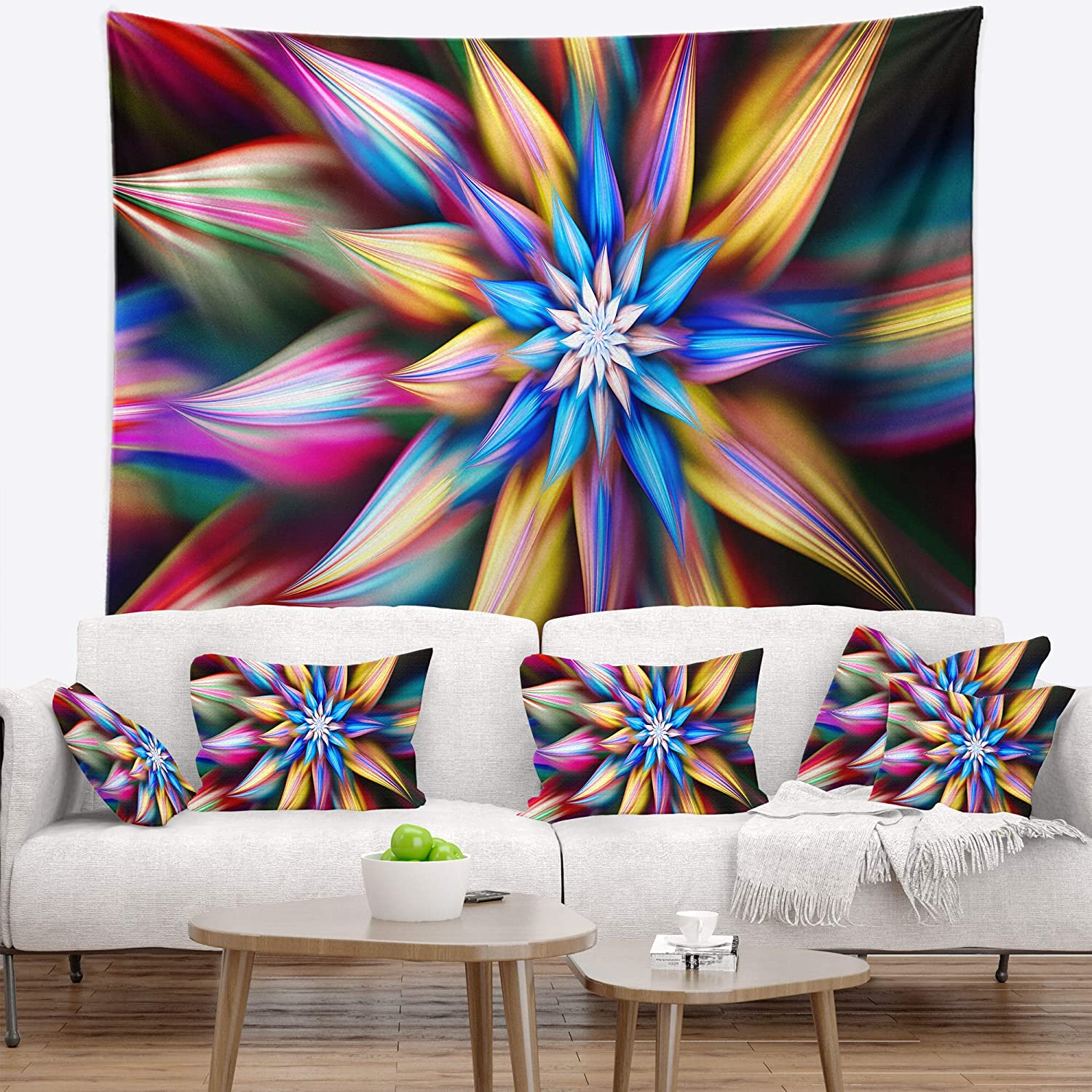 Designart TAP15532-80-68 ' Exotic Multi Color Flower Petals' Floral Blanket Décor Art for Home and Office Wall Tapestry x Large: 80 in. x 68 in. Created On Lightweight Polyester Fabric