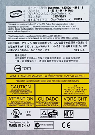 Amazon.com: Cisco WS-C3750G-48PS-S Catalyst 3750 Series SMI 48 Port 802.3af POE Gigabit Switch: Electronics