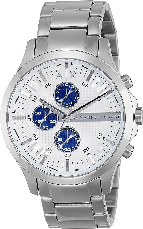 A X Armani Exchange Silvertone Bracelet Watch with Silvertone Dial