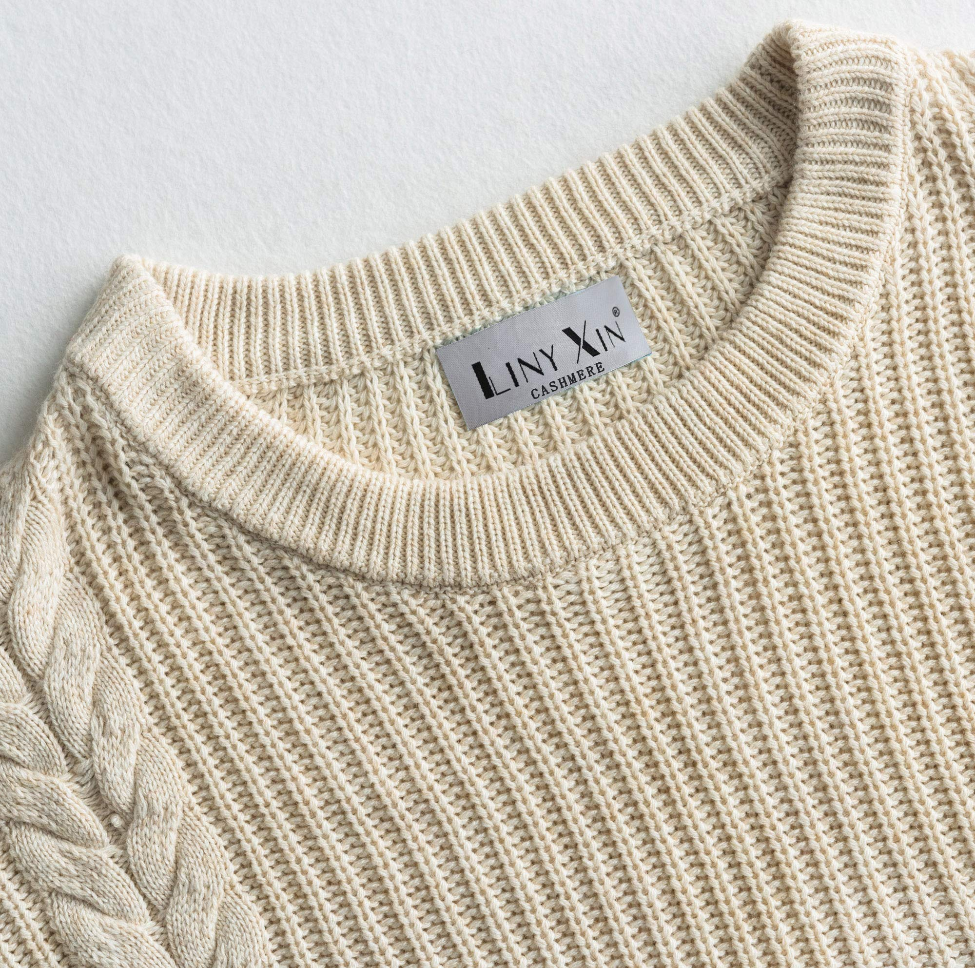 Liny Xin Mens Winter Cashmere Knitted Casual Crew Neck Long Sleeve Loose Wool Pullover Sweater Tops