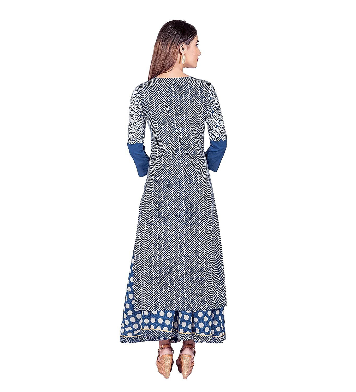 595dbcd38b Missprint Women's Hand Block Printed 3/4 Sleeve Anarkali Fabric Cotton Scoop  Neck Straight Long Kurta With Flared Polka Dot Skirt: Amazon.in: Clothing &  ...