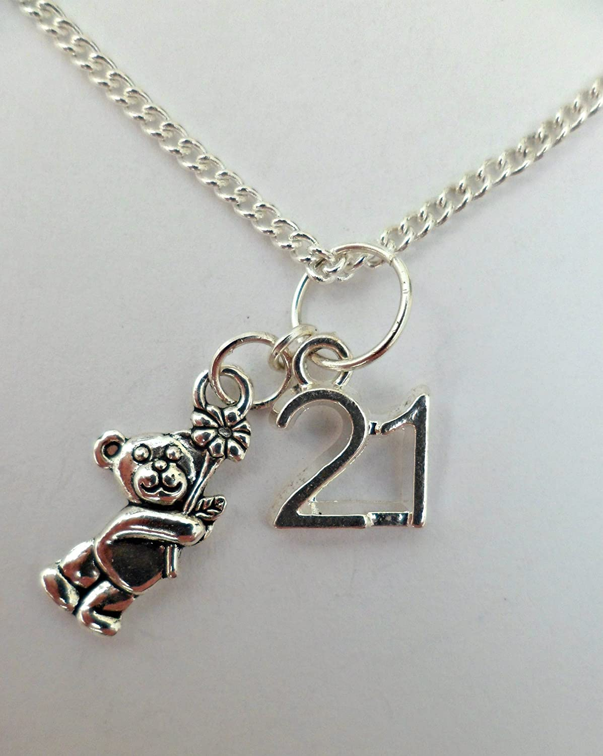 SILVER NECKLACE 21st Anniversary Birthday Flower Teddy Bear