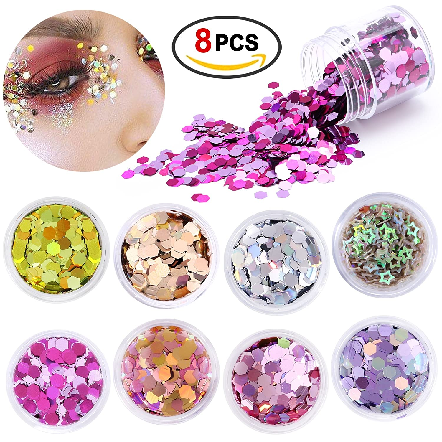 Konsait Chunky Cosmetic Glitter Shimmer Holographic Body Glitter Powder Sequins Hexagon Paillettes Flaky Decoration for Festival Rave Costume Face Body Nail Hair Eyes Lips Unicorn mermaid Makeup(8pcs)