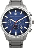 French Connection Men's Quartz Watch with Blue Dial Analogue Display and Silver Stainless Steel Bracelet FC1236USM