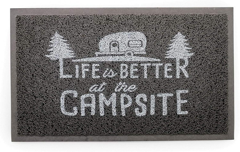 Amazon Com Camco Life Is Better At The Campsite Outdoor Indoor Welcome Mat Weather And Mildew Resistant Doormat Traps Dirt And Liquid Spongey Comfortable Feel Measures 26