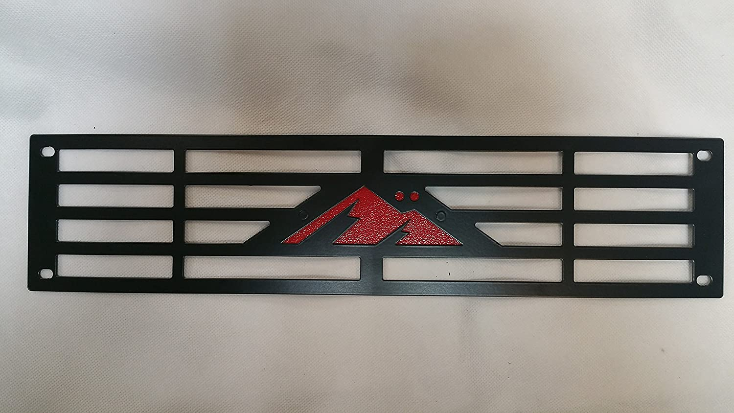 Mountains2Metal M2M Mountain Logo Edition Bumper Grille Insert with RED Backing Plate Compatible with 2015-2019 Chevy Silverado 2500 3500 HD M2M #400-120-2
