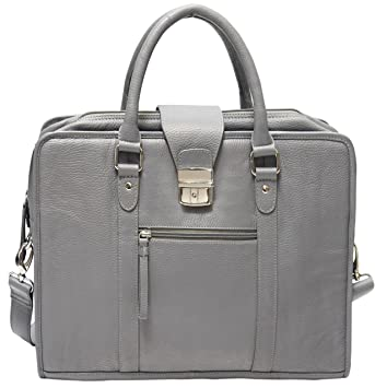78f772d2ea Amazon.com  ZN Leather Briefcase Messenger Bag Laptop Bag for Women or Men  (Grey) 15.6 inch - Special Winter Sale  ZNBags