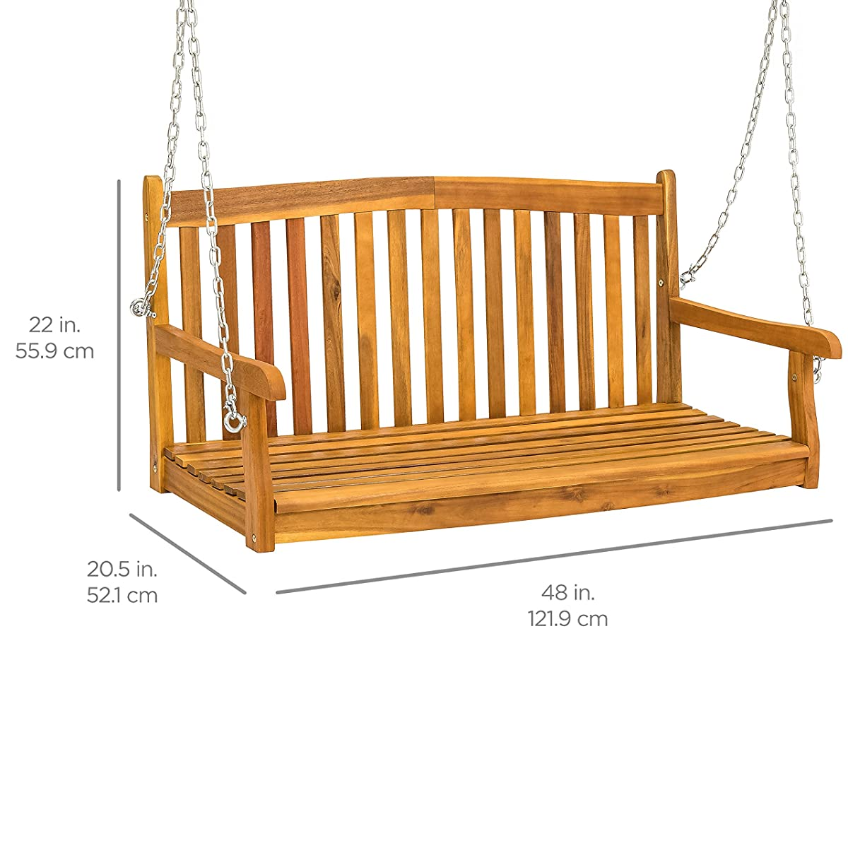 Best Choice Products 48in Wooden Porch Furniture Swing Bench for Patio, Deck, Garden w/Metal Hanging Chains - Brown