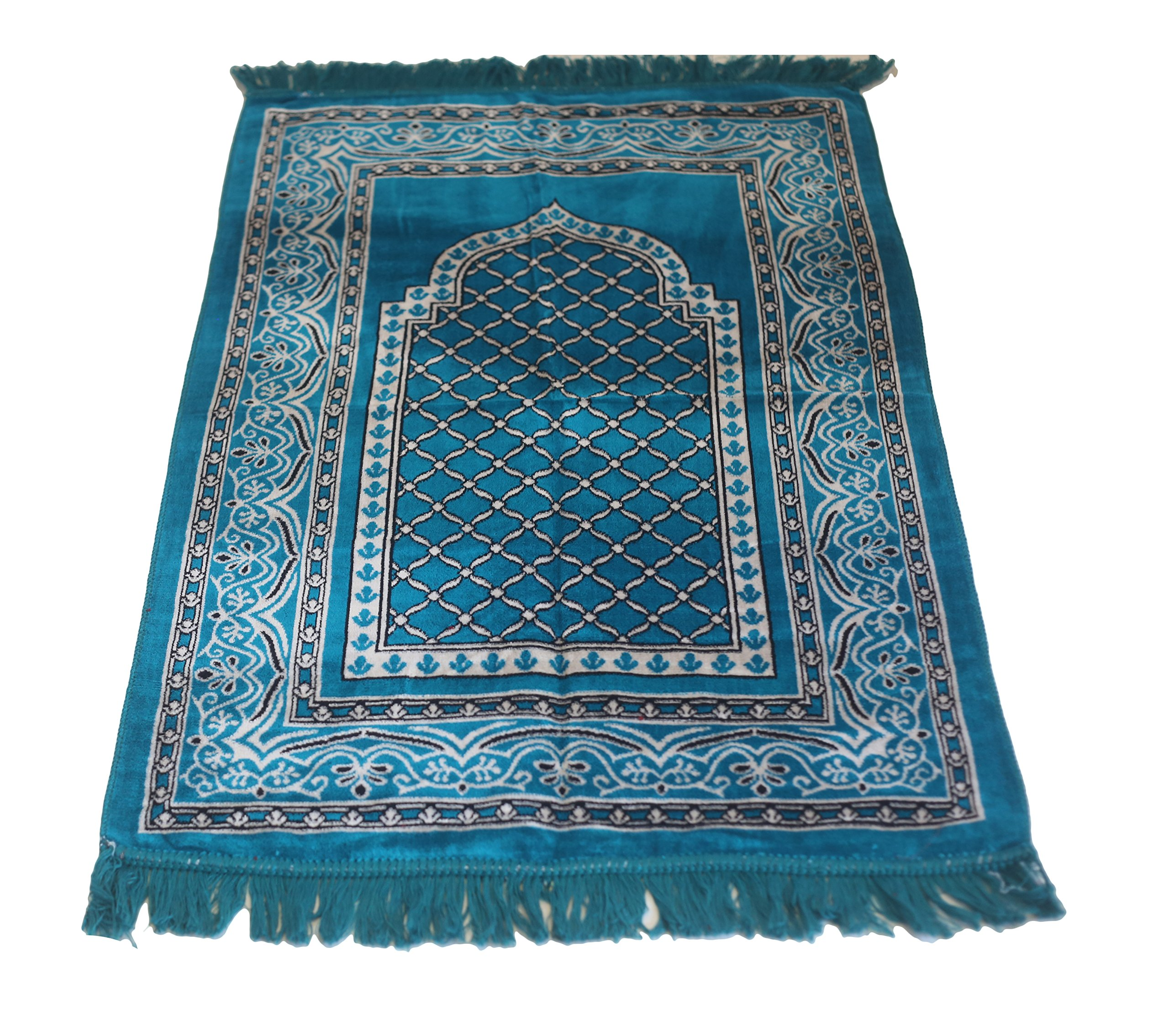 Perfect Quality Velvet Mihrab Hutbe Pattern Islamic Prayer Rug Janamaz Sajjadah Muslim Namaz Seccade Turkish Prayer Rug (Turqouise)