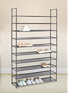 Black 10 Tiers Shoe Rack 50 Pairs Non Woven Fabric Shoe Tower Storage  Organizer Cabinet Great Ideas