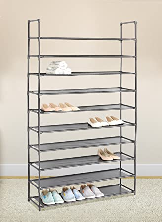 Wonderful Amazon.com: Black 10 Tiers Shoe Rack 50 Pairs Non Woven Fabric Shoe Tower  Storage Organizer Cabinet: Home U0026 Kitchen