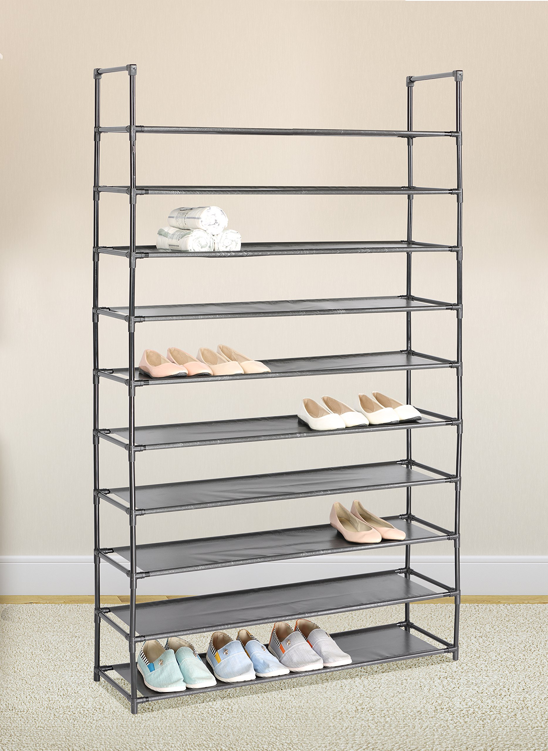 Charmant Black 10 Tiers Shoe Rack 50 Pairs Non Woven Fabric Shoe Tower Storage  Organizer Cabinet