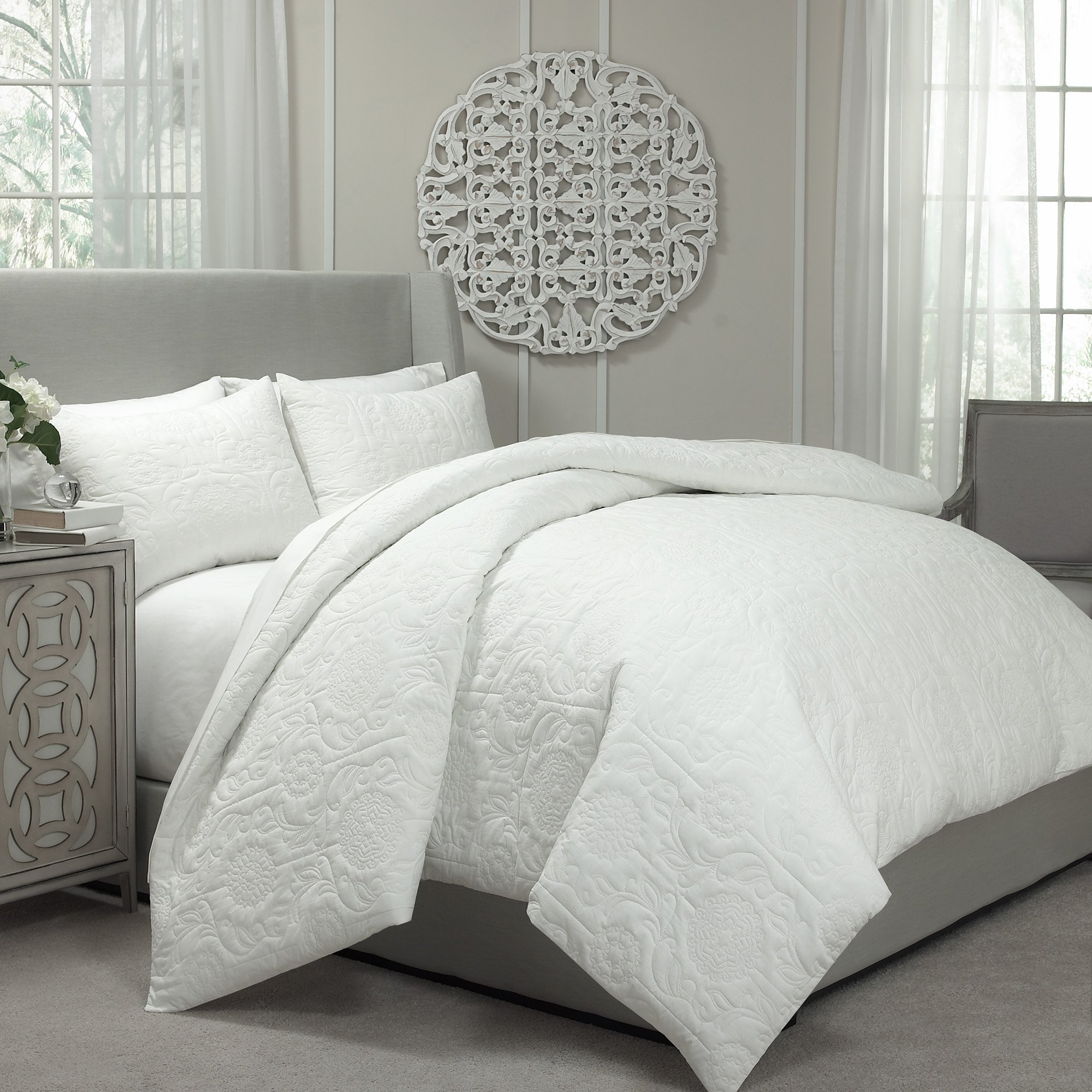 Vue Barcelona Quilted Coverlet and Duvet Ensemble, King, Ivory