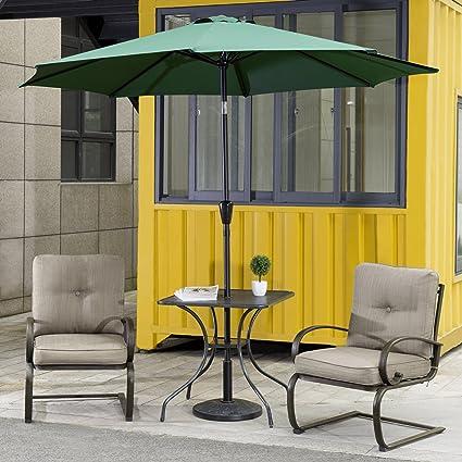 Cloud Mountain 4 Piece Patio Bistro Set Outdoor Patio Umbrella Patio  Furniture Set Wrought Iron Bistro