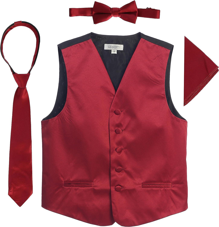 Tie Pocket Square Set Bowtie Gioberti Boys 4 Piece Formal Paisley Tuxedo Vest