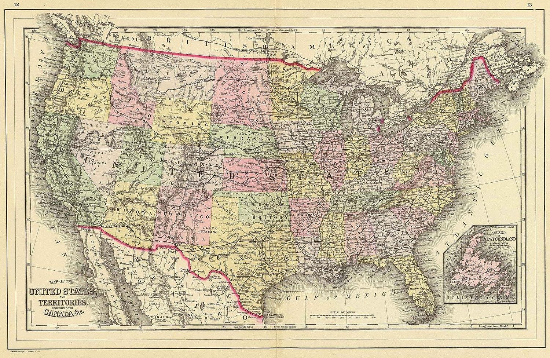 1890 World Map.Amazon Com World Atlas 1890 United States Historic Antique