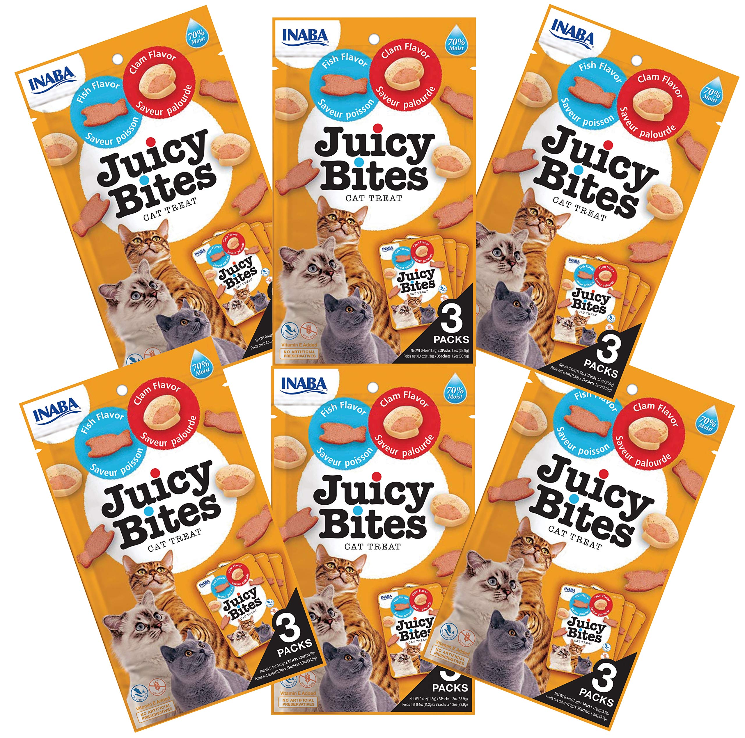 INABA Juicy Bites Fish and Clam Flavor Cat Treats 18pk by INABA