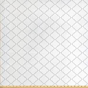 Lunarable Grey Fabric by The Yard, Moroccan Traditional Trellis Pattern Simple Geometric Monochrome Tile, Decorative Fabric for Upholstery and Home Accents, 2 Yards, Grey White